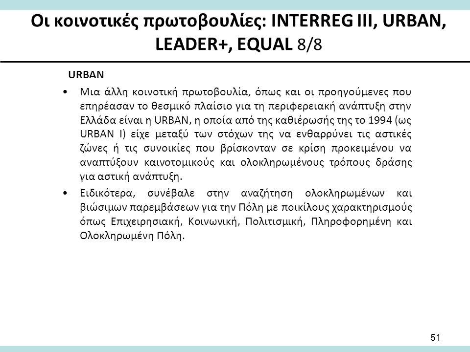 Οι κοινοτικές πρωτοβουλίες: INTERREG III, URBAN, LEADER+, EQUAL 8/8 URBAN Μια άλλη κοινοτική πρωτοβουλία, όπως και οι προηγούμενες που επηρέασαν το θεσμικό πλαίσιο για τη περιφερειακή ανάπτυξη στην Ελλάδα είναι η URBAN, η οποία από της καθιέρωσής της το 1994 (ως URBAN I) είχε μεταξύ των στόχων της να ενθαρρύνει τις αστικές ζώνες ή τις συνοικίες που βρίσκονταν σε κρίση προκειμένου να αναπτύξουν καινοτομικούς και ολοκληρωμένους τρόπους δράσης για αστική ανάπτυξη.