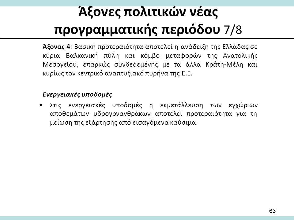 Άξονες πολιτικών νέας προγραμματικής περιόδου 7/8 Άξονας 4: Βασική προτεραιότητα αποτελεί η ανάδειξη της Ελλάδας σε κύρια Βαλκανική πύλη και κόμβο μεταφορών της Ανατολικής Μεσογείου, επαρκώς συνδεδεμένης με τα άλλα Κράτη-Μέλη και κυρίως τον κεντρικό αναπτυξιακό πυρήνα της Ε.Ε.