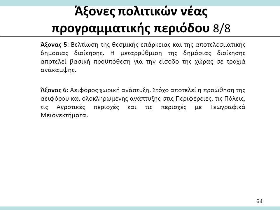 Άξονες πολιτικών νέας προγραμματικής περιόδου 8/8 Άξονας 5: Βελτίωση της θεσμικής επάρκειας και της αποτελεσματικής δημόσιας διοίκησης.