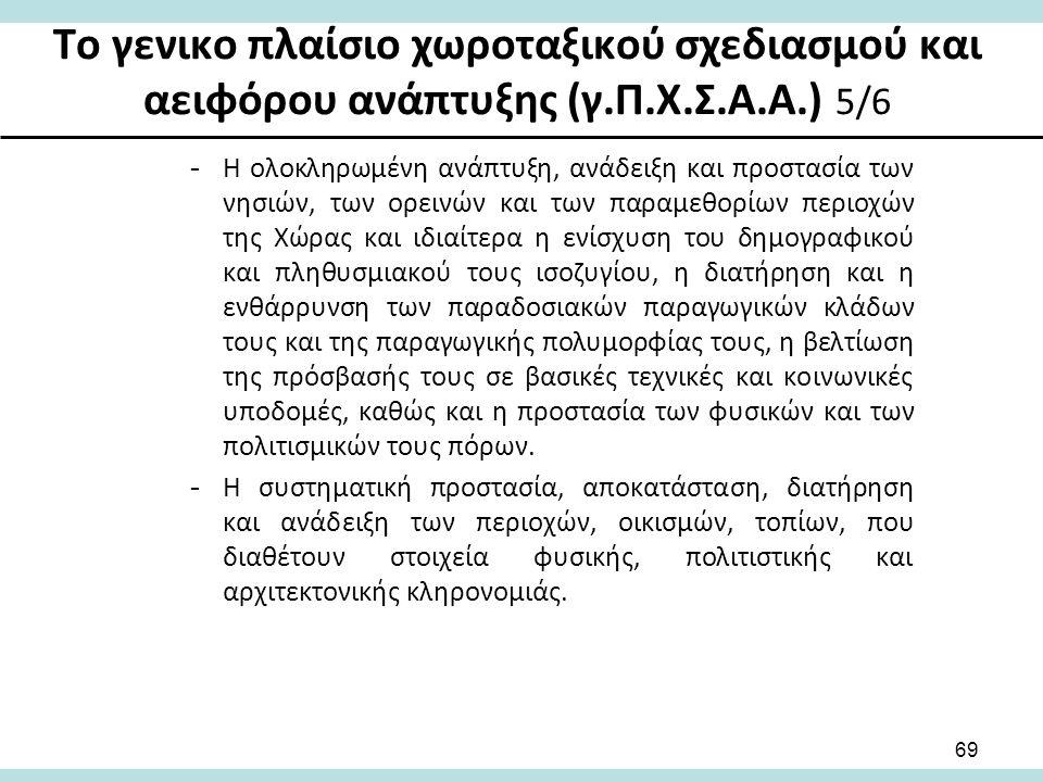 Το γενικο πλαίσιο χωροταξικού σχεδιασμού και αειφόρου ανάπτυξης (γ.Π.Χ.Σ.Α.Α.) 5/6 -Η ολοκληρωμένη ανάπτυξη, ανάδειξη και προστασία των νησιών, των ορεινών και των παραμεθορίων περιοχών της Χώρας και ιδιαίτερα η ενίσχυση του δημογραφικού και πληθυσμιακού τους ισοζυγίου, η διατήρηση και η ενθάρρυνση των παραδοσιακών παραγωγικών κλάδων τους και της παραγωγικής πολυμορφίας τους, η βελτίωση της πρόσβασής τους σε βασικές τεχνικές και κοινωνικές υποδομές, καθώς και η προστασία των φυσικών και των πολιτισμικών τους πόρων.
