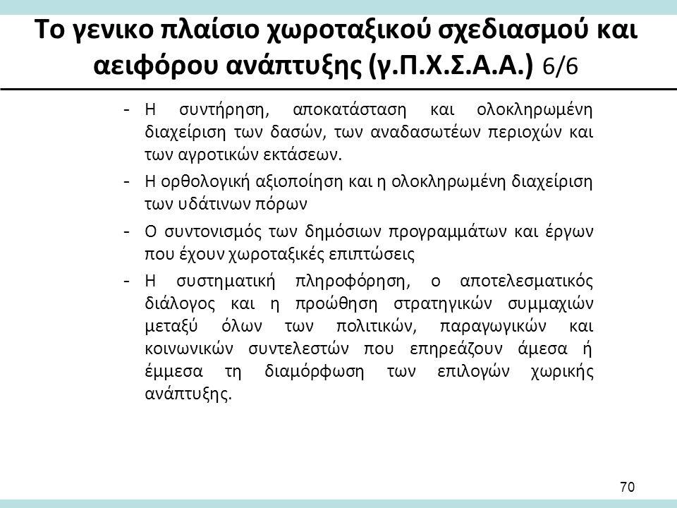 Το γενικο πλαίσιο χωροταξικού σχεδιασμού και αειφόρου ανάπτυξης (γ.Π.Χ.Σ.Α.Α.) 6/6 -Η συντήρηση, αποκατάσταση και ολοκληρωμένη διαχείριση των δασών, των αναδασωτέων περιοχών και των αγροτικών εκτάσεων.