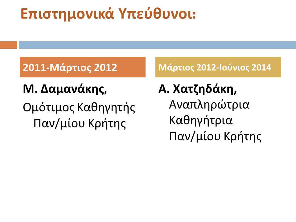 Επιστημονικά Υπεύθυνοι : Μ. Δαμανάκης, Ομότιμος Καθηγητής Παν / μίου Κρήτης Α.