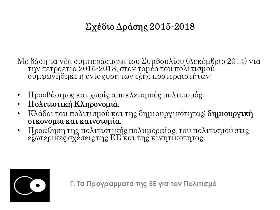 Σχέδιο Δράσης 2015-2018 Με βάση τα νέα συμπεράσματα του Συμβουλίου (Δεκέμβριο 2014) για την τετραετία 2015-2018, στον τομέα του πολιτισμού συμφωνήθηκε η ενίσχυση των εξής προτεραιοτήτων: Προσβάσιμος και χωρίς αποκλεισμούς πολιτισμός.
