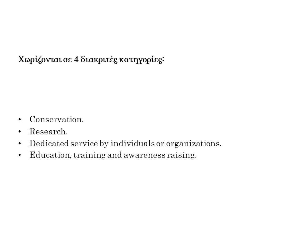 Χωρίζονται σε 4 διακριτές κατηγορίες: Conservation.