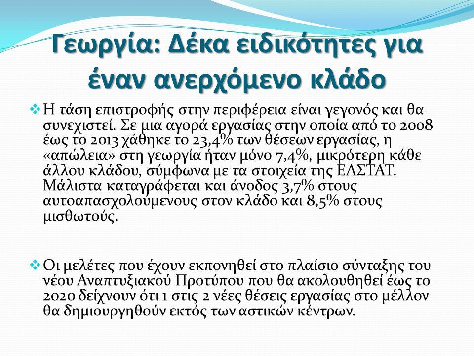 Γεωργία: Δέκα ειδικότητες για έναν ανερχόμενο κλάδο  Η τάση επιστροφής στην περιφέρεια είναι γεγονός και θα συνεχιστεί.
