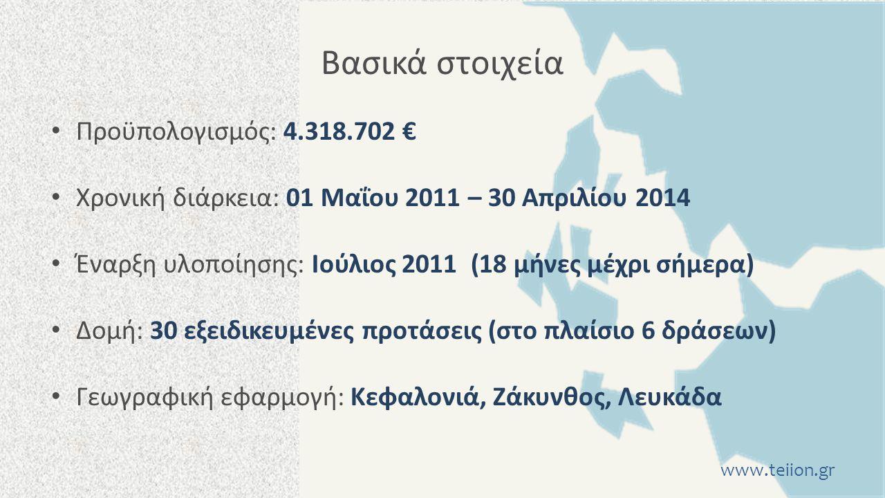 Βασικά στοιχεία Προϋπολογισμός: 4.318.702 € Χρονική διάρκεια: 01 Μαΐου 2011 – 30 Απριλίου 2014 Έναρξη υλοποίησης: Ιούλιος 2011 (18 μήνες μέχρι σήμερα) Δομή: 30 εξειδικευμένες προτάσεις (στο πλαίσιο 6 δράσεων) Γεωγραφική εφαρμογή: Κεφαλονιά, Ζάκυνθος, Λευκάδα www.teiion.gr