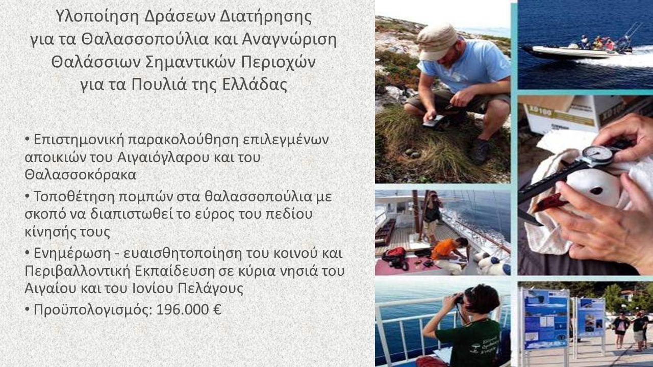 Υλοποίηση Δράσεων Διατήρησης για τα Θαλασσοπούλια και Αναγνώριση Θαλάσσιων Σημαντικών Περιοχών για τα Πουλιά της Ελλάδας Επιστημονική παρακολούθηση επιλεγμένων αποικιών του Αιγαιόγλαρου και του Θαλασσοκόρακα Τοποθέτηση πομπών στα θαλασσοπούλια με σκοπό να διαπιστωθεί το εύρος του πεδίου κίνησής τους Ενημέρωση - ευαισθητοποίηση του κοινού και Περιβαλλοντική Εκπαίδευση σε κύρια νησιά του Αιγαίου και του Ιονίου Πελάγους Προϋπολογισμός: 196.000 €