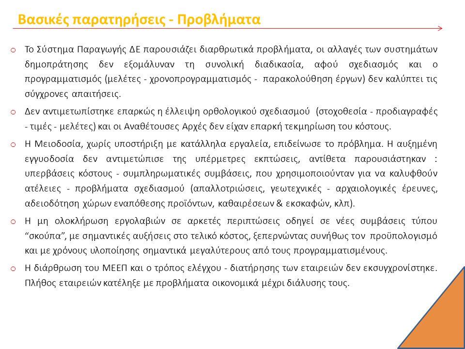 Βασικές παρατηρήσεις - Προβλήματα o Το Σύστημα Παραγωγής ΔΕ παρουσιάζει διαρθρωτικά προβλήματα, οι αλλαγές των συστημάτων δημοπράτησης δεν εξομάλυναν τη συνολική διαδικασία, αφού σχεδιασμός και ο προγραμματισμός (μελέτες - χρονοπρογραμματισμός - παρακολούθηση έργων) δεν καλύπτει τις σύγχρονες απαιτήσεις.