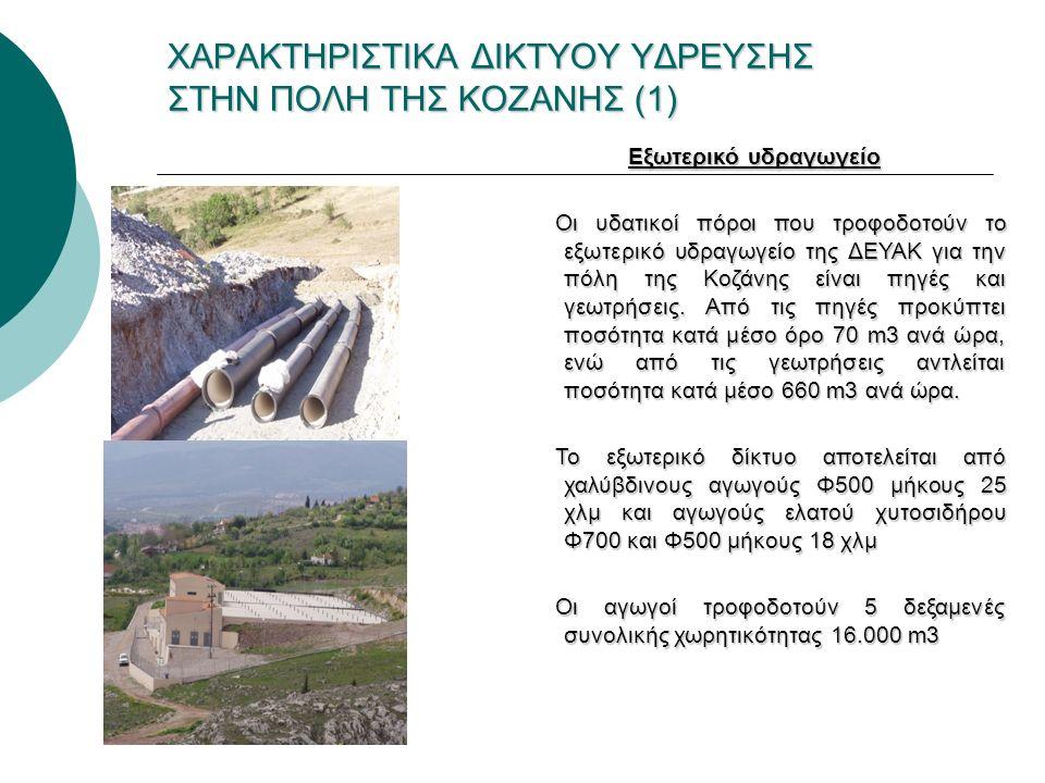 ΧΑΡΑΚΤΗΡΙΣΤΙΚΑ ΔΙΚΤΥΟΥ ΥΔΡΕΥΣΗΣ ΣΤΗΝ ΠΟΛΗ ΤΗΣ ΚΟΖΑΝΗΣ (1) Εξωτερικό υδραγωγείο Οι υδατικοί πόροι που τροφοδοτούν το εξωτερικό υδραγωγείο της ΔΕΥΑΚ για την πόλη της Κοζάνης είναι πηγές και γεωτρήσεις.