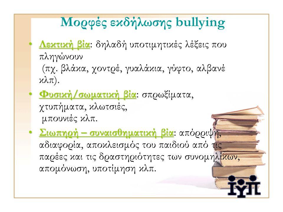 Μορφές εκδήλωσης bullying Λεκτική βίαΛεκτική βία: δηλαδή υποτιμητικές λέξεις που πληγώνουν (πχ.