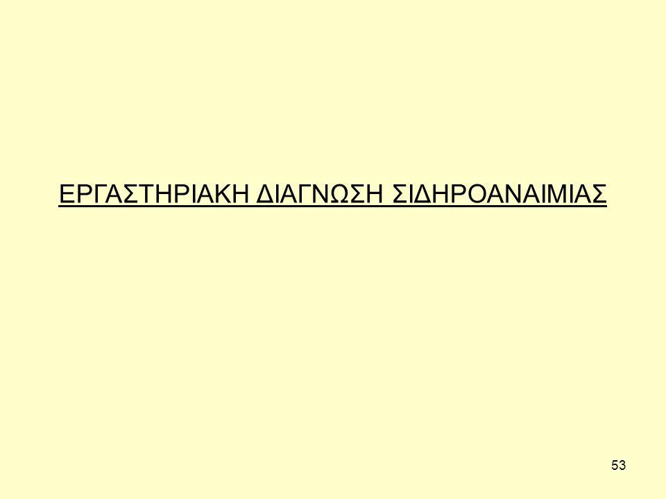 53 ΕΡΓΑΣΤΗΡΙΑΚΗ ΔΙΑΓΝΩΣΗ ΣΙΔΗΡΟΑΝΑΙΜΙΑΣ