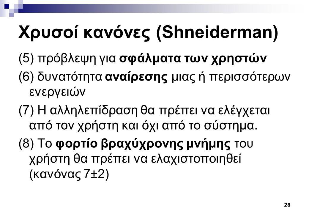 28 Χρυσοί κανόνες (Shneiderman) (5) πρόβλεψη για σφάλματα των χρηστών (6) δυνατότητα αναίρεσης μιας ή περισσότερων ενεργειών (7) Η αλληλεπίδραση θα πρέπει να ελέγχεται από τον χρήστη και όχι από το σύστημα.