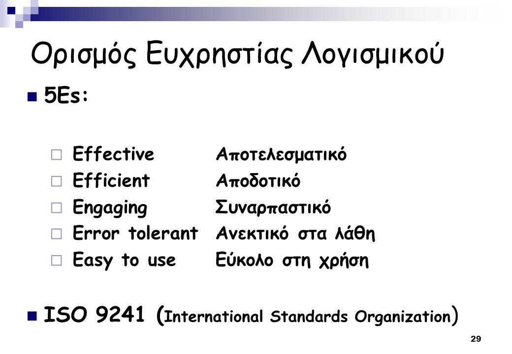 29 Ορισμός Ευχρηστίας Λογισμικού 5Es:  EffectiveΑποτελεσματικό  EfficientΑποδοτικό  EngagingΣυναρπαστικό  Error tolerantΑνεκτικό στα λάθη  Easy to useΕύκολο στη χρήση ISO 9241 ( International Standards Organization )