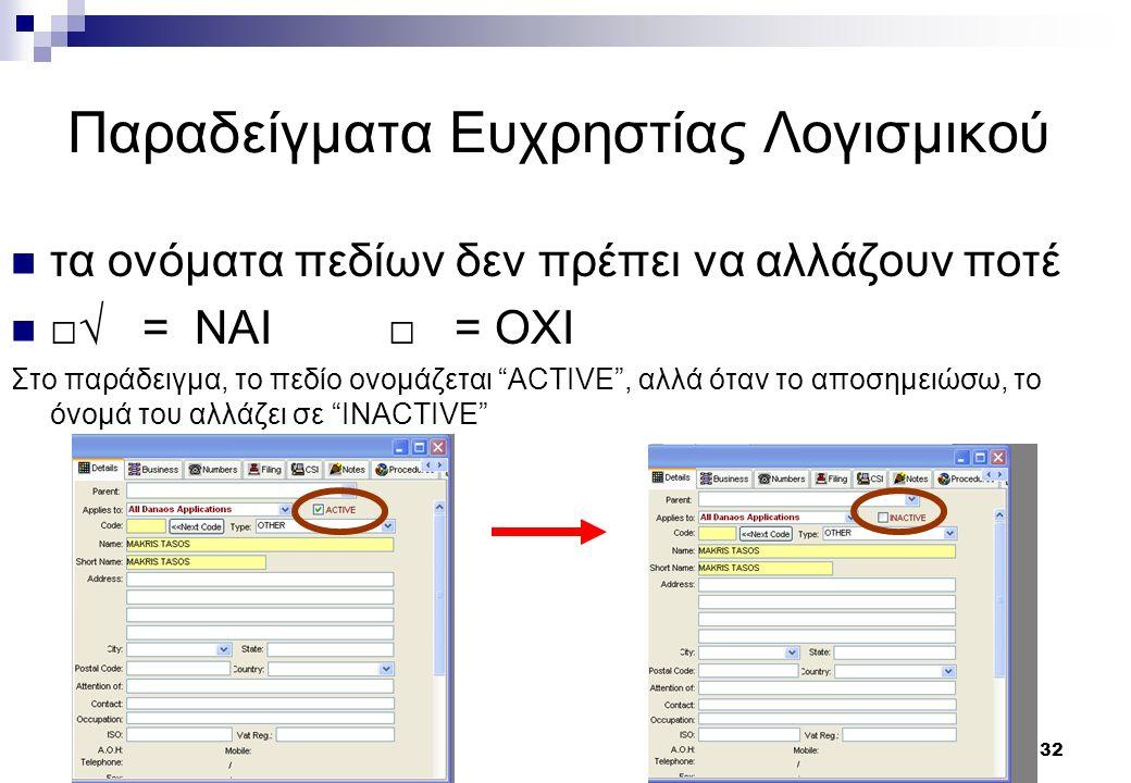 32 Παραδείγματα Ευχρηστίας Λογισμικού τα ονόματα πεδίων δεν πρέπει να αλλάζουν ποτέ □√ = ΝΑΙ □ = ΟΧΙ Στο παράδειγμα, το πεδίο ονομάζεται ACTIVE , αλλά όταν το αποσημειώσω, το όνομά του αλλάζει σε INACTIVE