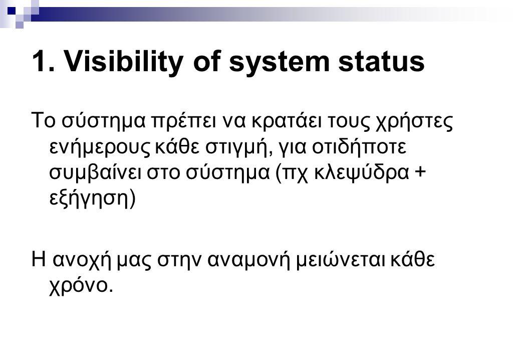 1. Visibility of system status Το σύστημα πρέπει να κρατάει τους χρήστες ενήμερους κάθε στιγμή, για οτιδήποτε συμβαίνει στο σύστημα (πχ κλεψύδρα + εξή