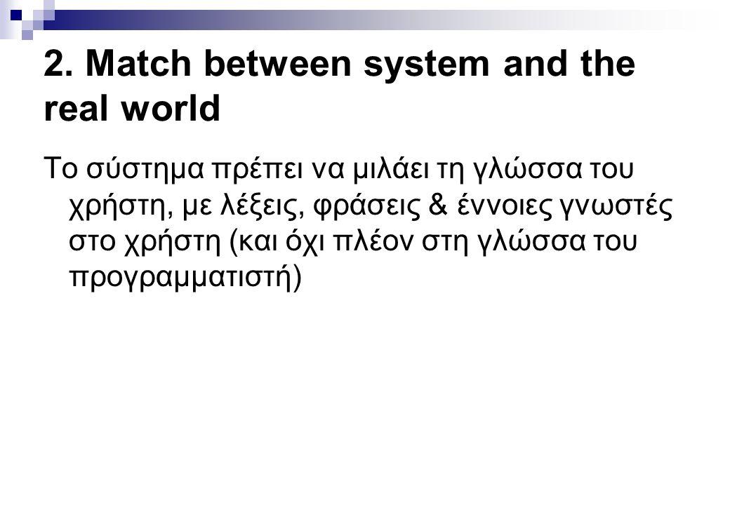 2. Match between system and the real world Το σύστημα πρέπει να μιλάει τη γλώσσα του χρήστη, με λέξεις, φράσεις & έννοιες γνωστές στο χρήστη (και όχι
