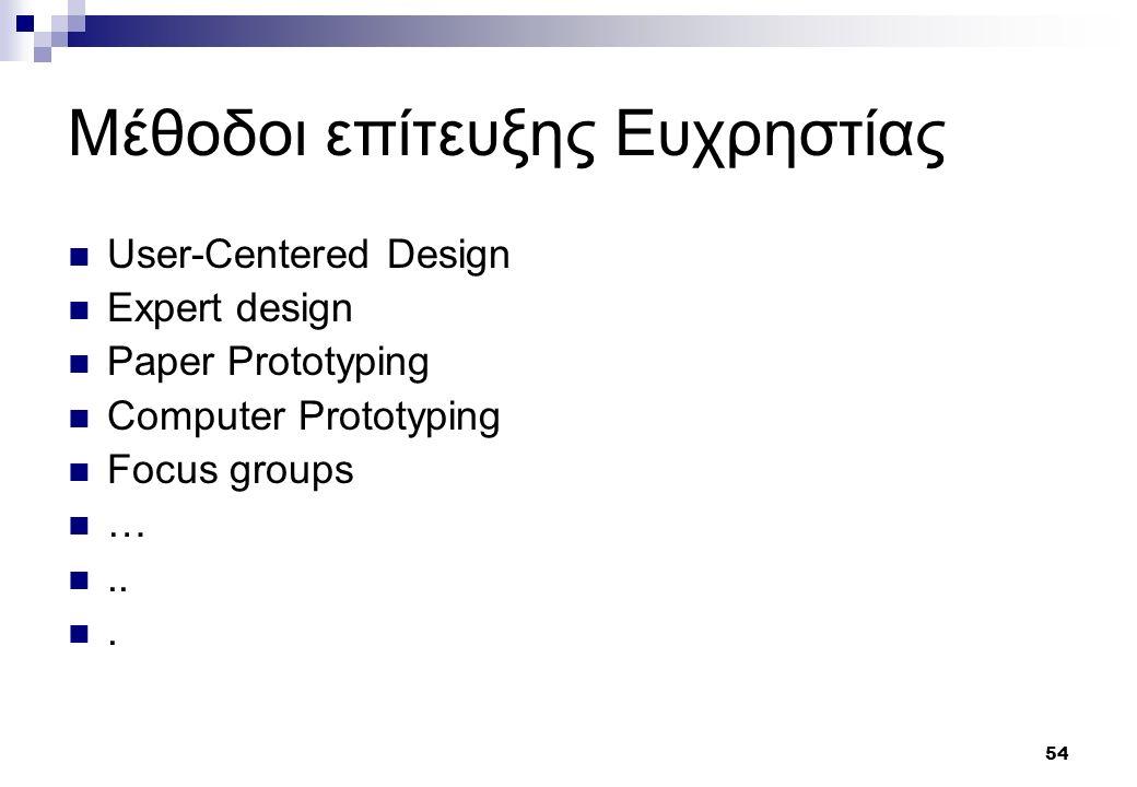 54 Μέθοδοι επίτευξης Ευχρηστίας User-Centered Design Expert design Paper Prototyping Computer Prototyping Focus groups …...