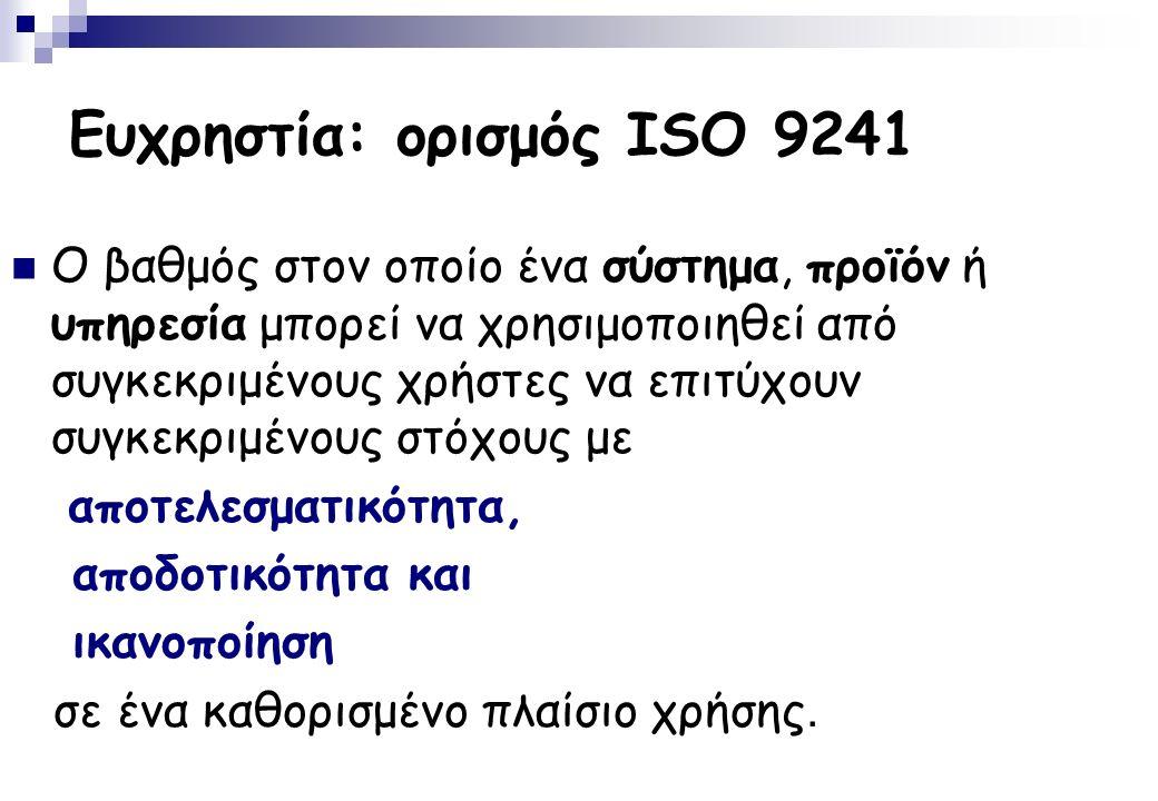 Ευχρηστία: ορισμός ISO 9241 Ο βαθμός στον οποίο ένα σύστημα, προϊόν ή υπηρεσία μπορεί να χρησιμοποιηθεί από συγκεκριμένους χρήστες να επιτύχουν συγκεκριμένους στόχους με αποτελεσματικότητα, αποδοτικότητα και ικανοποίηση σε ένα καθορισμένο πλαίσιο χρήσης.