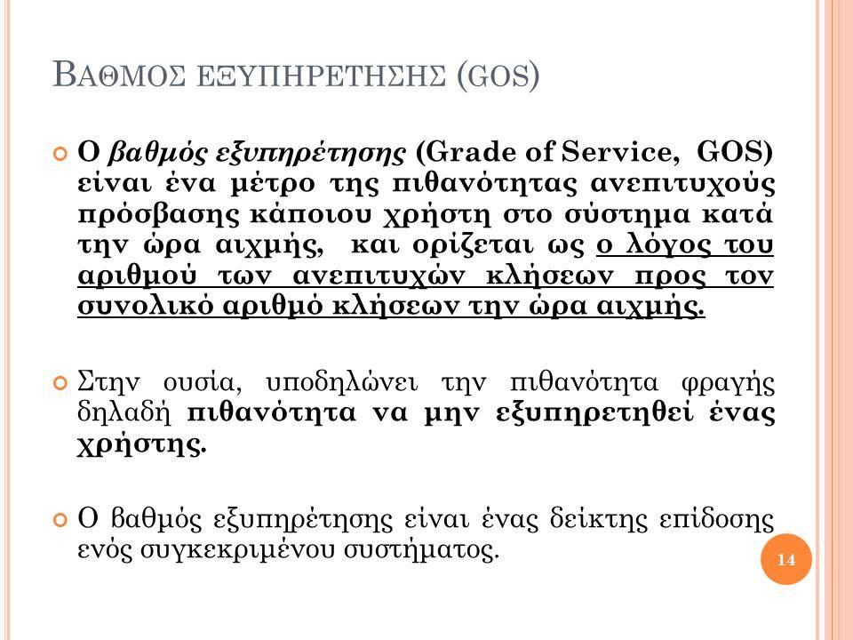 Β ΑΘΜΟΣ ΕΞΥΠΗΡΕΤΗΣΗΣ ( GOS ) Ο βαθμός εξυπηρέτησης (Grade of Service, GOS) είναι ένα μέτρο της πιθανότητας ανεπιτυχούς πρόσβασης κάποιου χρήστη στο σύστημα κατά την ώρα αιχμής, και ορίζεται ως ο λόγος του αριθμού των ανεπιτυχών κλήσεων προς τον συνολικό αριθμό κλήσεων την ώρα αιχμής.
