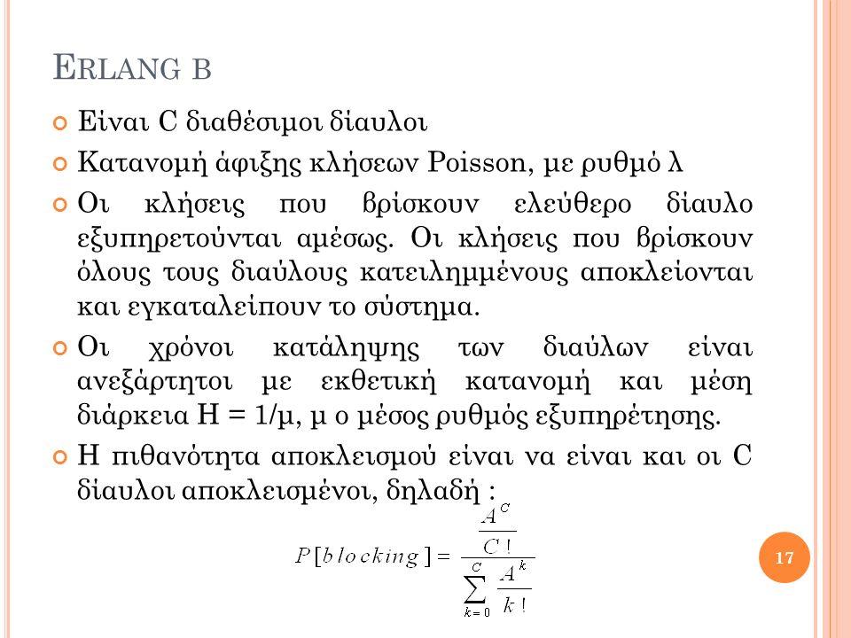 E RLANG B Είναι C διαθέσιμοι δίαυλοι Κατανομή άφιξης κλήσεων Poisson, με ρυθμό λ Οι κλήσεις που βρίσκουν ελεύθερο δίαυλο εξυπηρετούνται αμέσως.