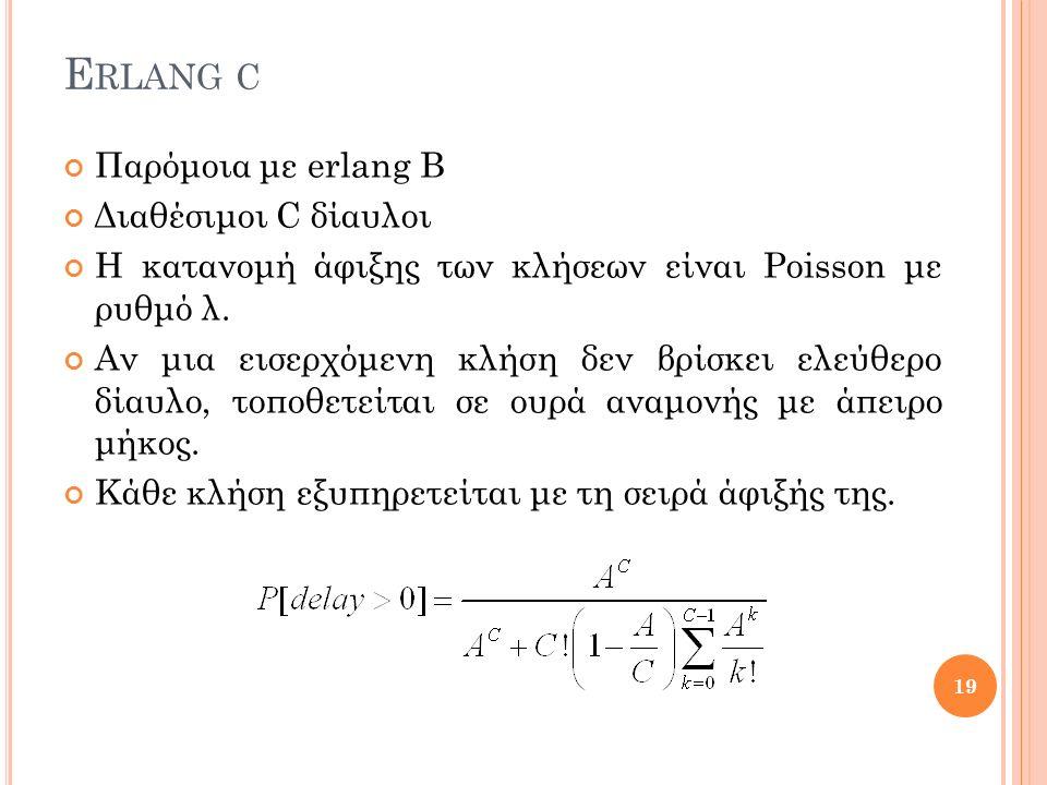E RLANG C Παρόμοια με erlang B Διαθέσιμοι C δίαυλοι Η κατανομή άφιξης των κλήσεων είναι Poisson με ρυθμό λ.