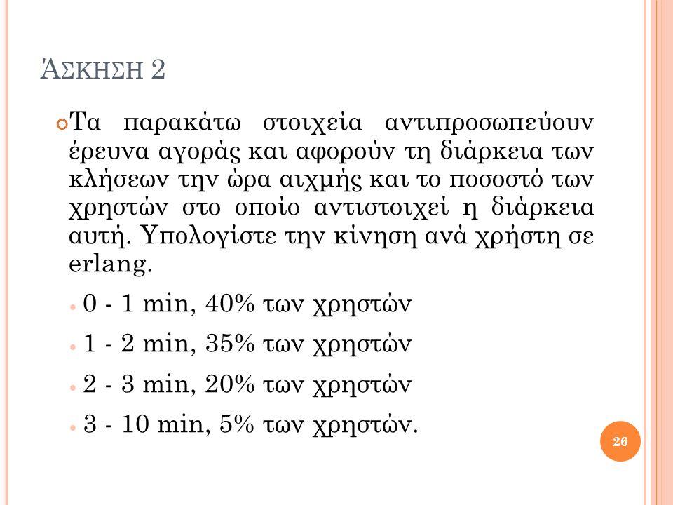 Ά ΣΚΗΣΗ 2 Τα παρακάτω στοιχεία αντιπροσωπεύουν έρευνα αγοράς και αφορούν τη διάρκεια των κλήσεων την ώρα αιχμής και το ποσοστό των χρηστών στο οποίο αντιστοιχεί η διάρκεια αυτή.