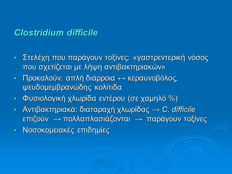 Clostridium difficile Στελέχη που παράγουν τοξίνες: «γαστρεντερική νόσος που σχετίζεται με λήψη αντιβακτηριακών» Στελέχη που παράγουν τοξίνες: «γαστρεντερική νόσος που σχετίζεται με λήψη αντιβακτηριακών» Προκαλούν: απλή διάρροια ↔ κεραυνοβόλος, ψευδομεμβρανώδης κολίτιδα Προκαλούν: απλή διάρροια ↔ κεραυνοβόλος, ψευδομεμβρανώδης κολίτιδα Φυσιολογική χλωρίδα εντέρου (σε χαμηλό %) Φυσιολογική χλωρίδα εντέρου (σε χαμηλό %) Αντιβακτηριακά: διαταραχή χλωρίδας → C.