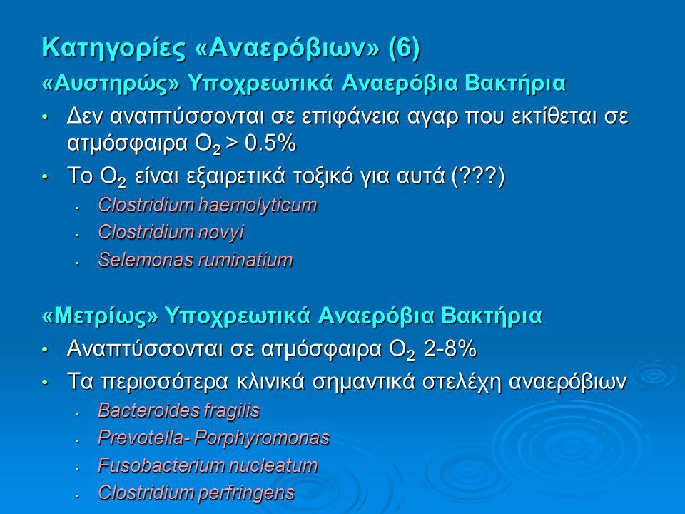 Kατηγορίες «Αναερόβιων» (6) «Αυστηρώς» Υποχρεωτικά Αναερόβια Bακτήρια Δεν αναπτύσσονται σε επιφάνεια αγαρ που εκτίθεται σε ατμόσφαιρα Ο 2 > 0.5% Δεν αναπτύσσονται σε επιφάνεια αγαρ που εκτίθεται σε ατμόσφαιρα Ο 2 > 0.5% Το Ο 2 είναι εξαιρετικά τοξικό για αυτά ( ) Το Ο 2 είναι εξαιρετικά τοξικό για αυτά ( ) Clostridium haemolyticum Clostridium haemolyticum Clostridium novyi Clostridium novyi Selemonas ruminatium Selemonas ruminatium «Μετρίως» Υποχρεωτικά Αναερόβια Bακτήρια Αναπτύσσονται σε ατμόσφαιρα Ο 2 2-8% Αναπτύσσονται σε ατμόσφαιρα Ο 2 2-8% Τα περισσότερα κλινικά σημαντικά στελέχη αναερόβιων Τα περισσότερα κλινικά σημαντικά στελέχη αναερόβιων Bacteroides fragilis Bacteroides fragilis Prevotella- Porphyromonas Prevotella- Porphyromonas Fusobacterium nucleatum Fusobacterium nucleatum Clostridium perfringens Clostridium perfringens