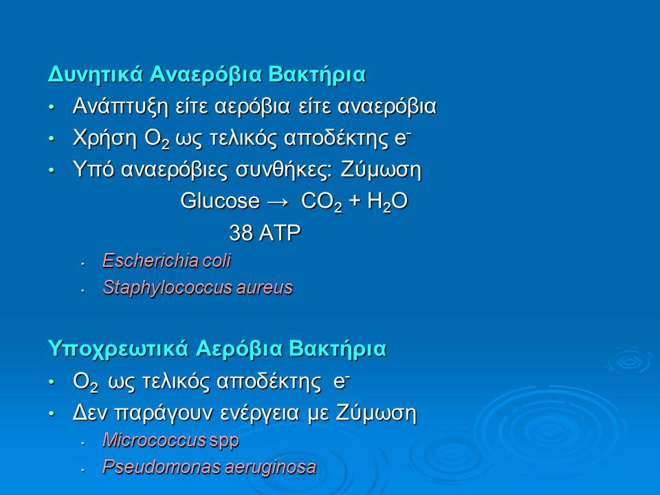 Δυνητικά Aναερόβια Bακτήρια Ανάπτυξη είτε αερόβια είτε αναερόβια Ανάπτυξη είτε αερόβια είτε αναερόβια Χρήση Ο 2 ως τελικός αποδέκτης e - Χρήση Ο 2 ως τελικός αποδέκτης e - Υπό αναερόβιες συνθήκες: Zύμωση Υπό αναερόβιες συνθήκες: Zύμωση Glucose → CO 2 + Η 2 Ο 38 ATP 38 ATP Escherichia coli Escherichia coli Staphylococcus aureus Staphylococcus aureus Υποχρεωτικά Αερόβια Bακτήρια Ο 2 ως τελικός αποδέκτης e - Ο 2 ως τελικός αποδέκτης e - Δεν παράγουν ενέργεια με Ζύμωση Δεν παράγουν ενέργεια με Ζύμωση Micrococcus spp Micrococcus spp Pseudomonas aeruginosa Pseudomonas aeruginosa