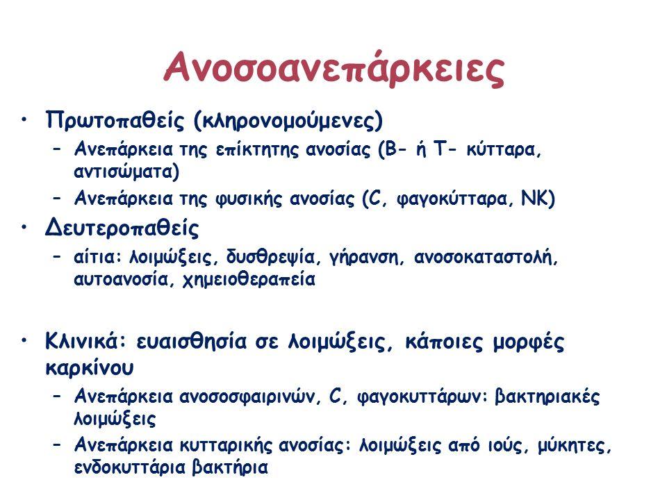 Ανοσοανεπάρκειες Πρωτοπαθείς (κληρονομούμενες) –Ανεπάρκεια της επίκτητης ανοσίας (Β- ή Τ- κύτταρα, αντισώματα) –Ανεπάρκεια της φυσικής ανοσίας (C, φαγοκύτταρα, ΝΚ) Δευτεροπαθείς –αίτια: λοιμώξεις, δυσθρεψία, γήρανση, ανοσοκαταστολή, αυτοανοσία, χημειοθεραπεία Κλινικά: ευαισθησία σε λοιμώξεις, κάποιες μορφές καρκίνου –Ανεπάρκεια ανοσοσφαιρινών, C, φαγοκυττάρων: βακτηριακές λοιμώξεις –Ανεπάρκεια κυτταρικής ανοσίας: λοιμώξεις από ιούς, μύκητες, ενδοκυττάρια βακτήρια