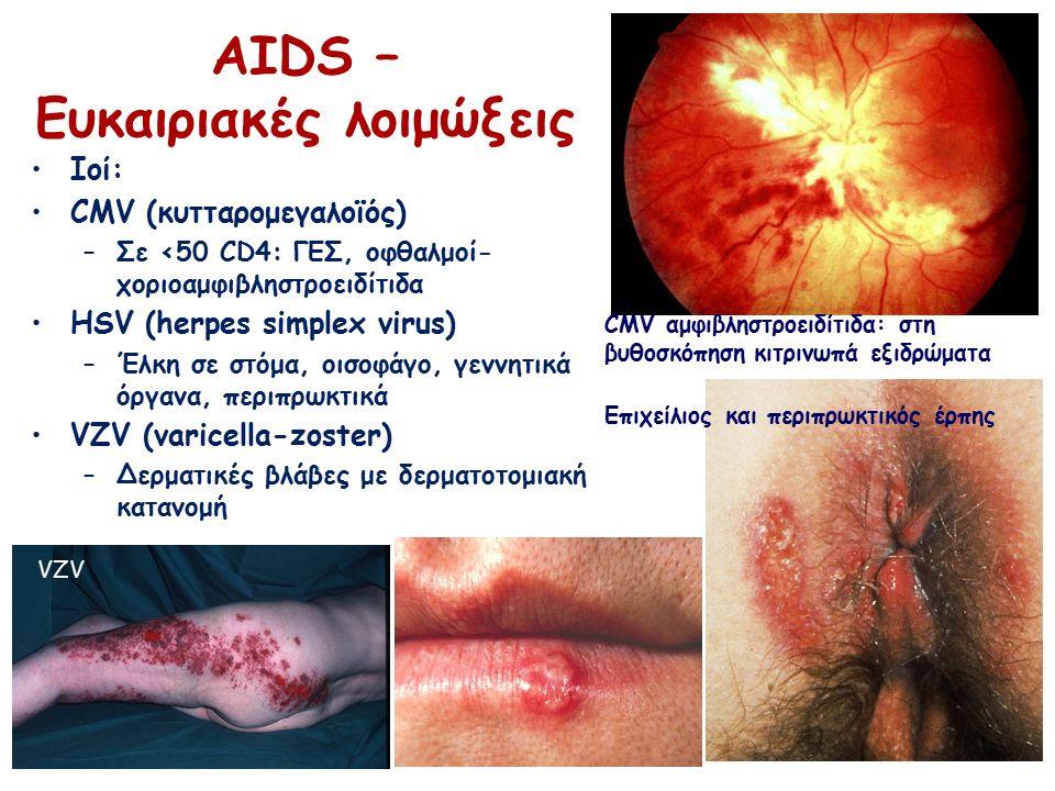 Ιοί: CMV (κυτταρομεγαλοϊός) –Σε <50 CD4: ΓΕΣ, οφθαλμοί- χοριοαμφιβληστροειδίτιδα HSV (herpes simplex virus) –Έλκη σε στόμα, οισοφάγο, γεννητικά όργανα, περιπρωκτικά VZV (varicella-zoster) –Δερματικές βλάβες με δερματοτομιακή κατανομή ΑΙDS – Ευκαιριακές λοιμώξεις CMV αμφιβληστροειδίτιδα: στη βυθοσκόπηση κιτρινωπά εξιδρώματα Επιχείλιος και περιπρωκτικός έρπης VZV