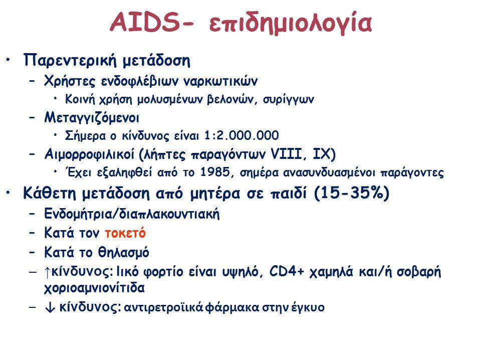 ΑΙDS- επιδημιολογία Παρεντερική μετάδοση –Χρήστες ενδοφλέβιων ναρκωτικών Κοινή χρήση μολυσμένων βελονών, συρίγγων –Μεταγγιζόμενοι Σήμερα ο κίνδυνος είναι 1:2.000.000 –Αιμορροφιλικοί (λήπτες παραγόντων VIII, IX) Έχει εξαληφθεί από το 1985, σημέρα ανασυνδυασμένοι παράγοντες Κάθετη μετάδοση από μητέρα σε παιδί (15-35%) –Ενδομήτρια/διαπλακουντιακή –Κατά τον τοκετό –Κατά το θηλασμό –↑κίνδυνος: Ι ικό φορτίο είναι υψηλό, CD4+ χαμηλά και/ή σοβαρή χοριοαμνιονίτιδα –↓ κίνδυνος: αντιρετροϊικά φάρμακα στην έγκυο