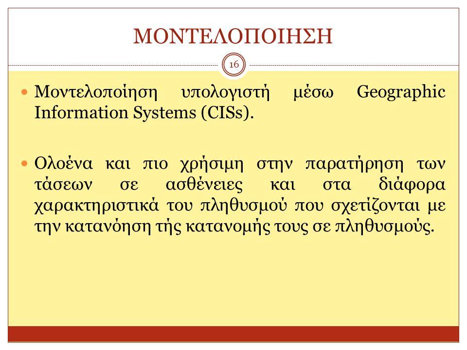 ΜΟΝΤΕΛΟΠΟΙΗΣΗ 16 Μοντελοποίηση υπολογιστή μέσω Geographic Information Systems (CISs). Ολοένα και πιο χρήσιμη στην παρατήρηση των τάσεων σε ασθένειες κ