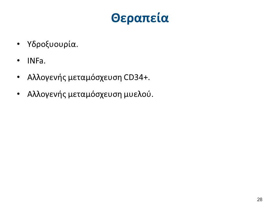 Θεραπεία Υδροξυουρία. INFa. Αλλογενής μεταμόσχευση CD34+. Αλλογενής μεταμόσχευση μυελού. 28