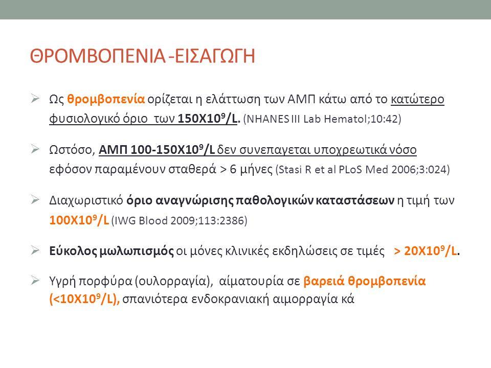 ΘΡΟΜΒΟΠΕΝΙΑ -ΕΙΣΑΓΩΓΗ  Ως θρομβοπενία ορίζεται η ελάττωση των ΑΜΠ κάτω από το κατώτερο φυσιολογικό όριο των 150Χ10 9 /L.