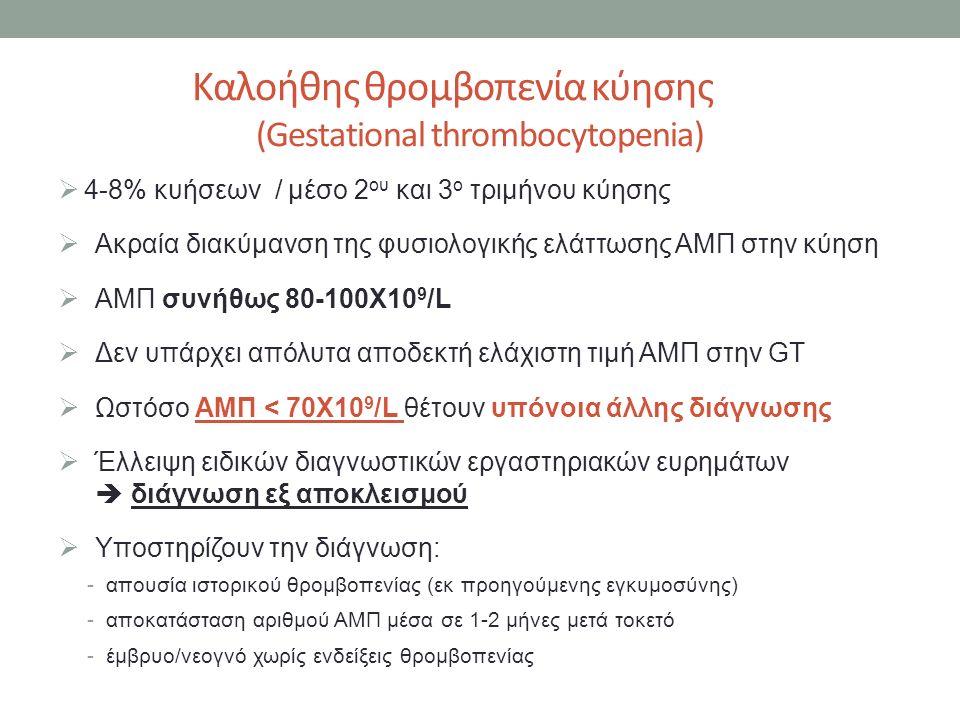 Καλοήθης θρομβοπενία κύησης (Gestational thrombocytopenia)  4-8% κυήσεων / μέσο 2 ου και 3 ο τριμήνου κύησης  Ακραία διακύμανση της φυσιολογικής ελάττωσης ΑΜΠ στην κύηση  ΑΜΠ συνήθως 80-100Χ10 9 /L  Δεν υπάρχει απόλυτα αποδεκτή ελάχιστη τιμή ΑΜΠ στην GT  Ωστόσο ΑΜΠ < 70Χ10 9 /L θέτουν υπόνοια άλλης διάγνωσης  Έλλειψη ειδικών διαγνωστικών εργαστηριακών ευρημάτων  διάγνωση εξ αποκλεισμού  Υποστηρίζουν την διάγνωση: -απουσία ιστορικού θρομβοπενίας (εκ προηγούμενης εγκυμοσύνης) -αποκατάσταση αριθμού ΑΜΠ μέσα σε 1-2 μήνες μετά τοκετό -έμβρυο/νεογνό χωρίς ενδείξεις θρομβοπενίας