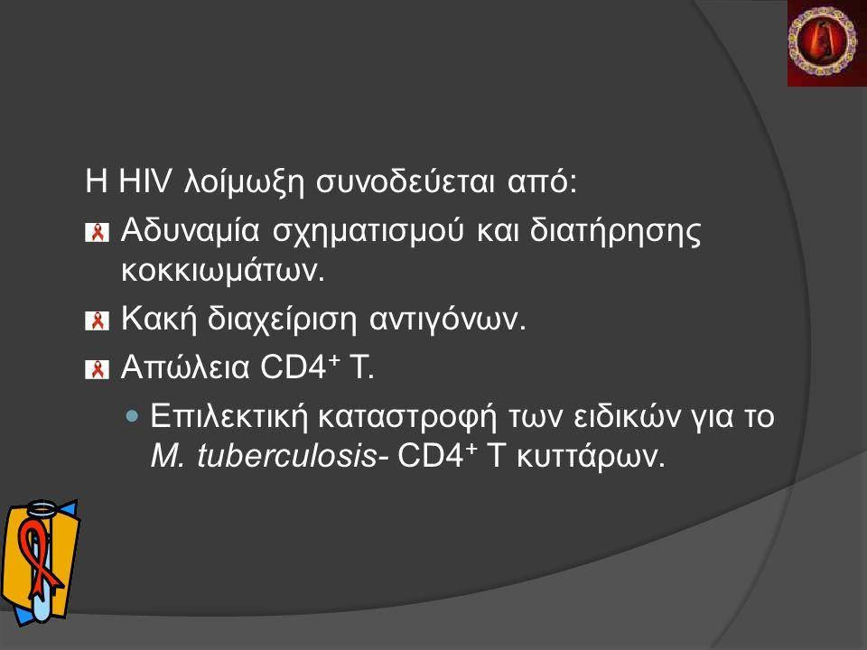 Η HIV λοίμωξη συνοδεύεται από: Αδυναμία σχηματισμού και διατήρησης κοκκιωμάτων.