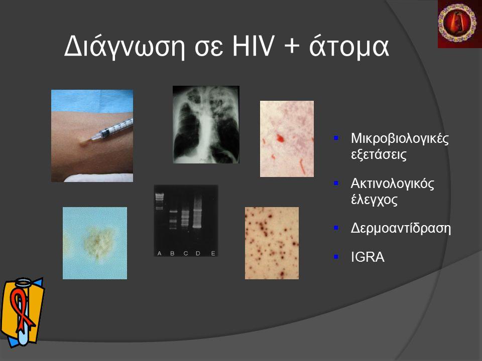 Διάγνωση σε HIV + άτομα  Μικροβιολογικές εξετάσεις  Ακτινολογικός έλεγχος  Δερμοαντίδραση  IGRA