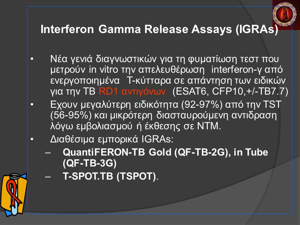 Interferon Gamma Release Assays (IGRAs) Nέα γενιά διαγνωστικών για τη φυματίωση τεστ που μετρούν in vitro την απελευθέρωση interferon-γ από ενεργοποιημένα T-κύτταρα σε απάντηση των ειδικών για την ΤΒ RD1 αντιγόνων (ESAT6, CFP10,+/-TB7.7) Εχουν μεγαλύτερη ειδικότητα (92-97%) από την TST (56-95%) και μικρότερη διασταυρούμενη αντιδραση λόγω εμβολιασμού ή έκθεσης σε ΝΤΜ.