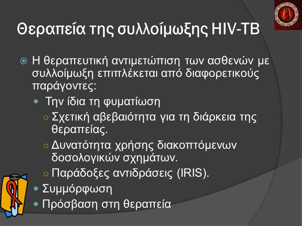 Θεραπεία της συλλοίμωξης HIV-ΤΒ  Η θεραπευτική αντιμετώπιση των ασθενών με συλλοίμωξη επιπλέκεται από διαφορετικούς παράγοντες: Την ίδια τη φυματίωση ○ Σχετική αβεβαιότητα για τη διάρκεια της θεραπείας.