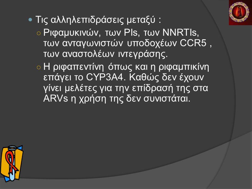 Τις αλληλεπιδράσεις μεταξύ : ○ Ριφαμυκινών, των PΙs, των NNRTIs, των ανταγωνιστών υποδοχέων CCR5, των αναστολέων ιντεγράσης.