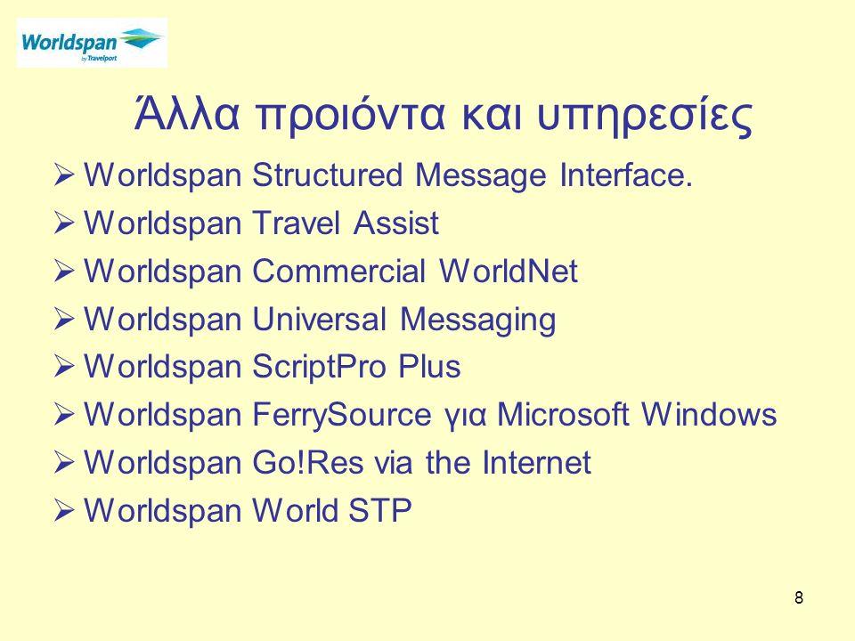 8 Άλλα προιόντα και υπηρεσίες  Worldspan Structured Message Interface.