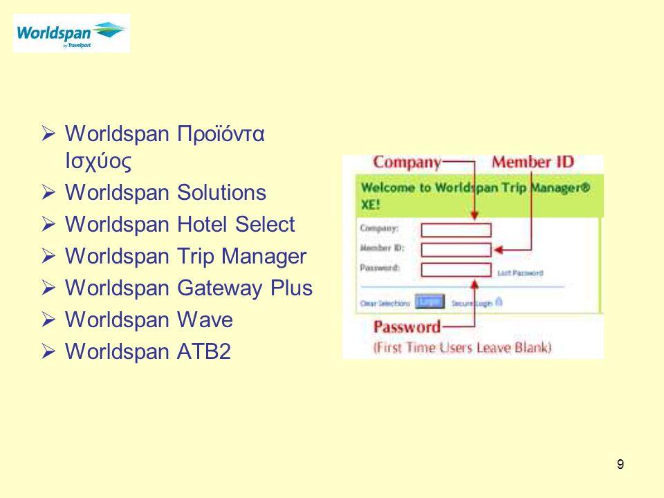 9  Worldspan Προϊόντα Ισχύος  Worldspan Solutions  Worldspan Hotel Select  Worldspan Trip Manager  Worldspan Gateway Plus  Worldspan Wave  Worldspan ATB2