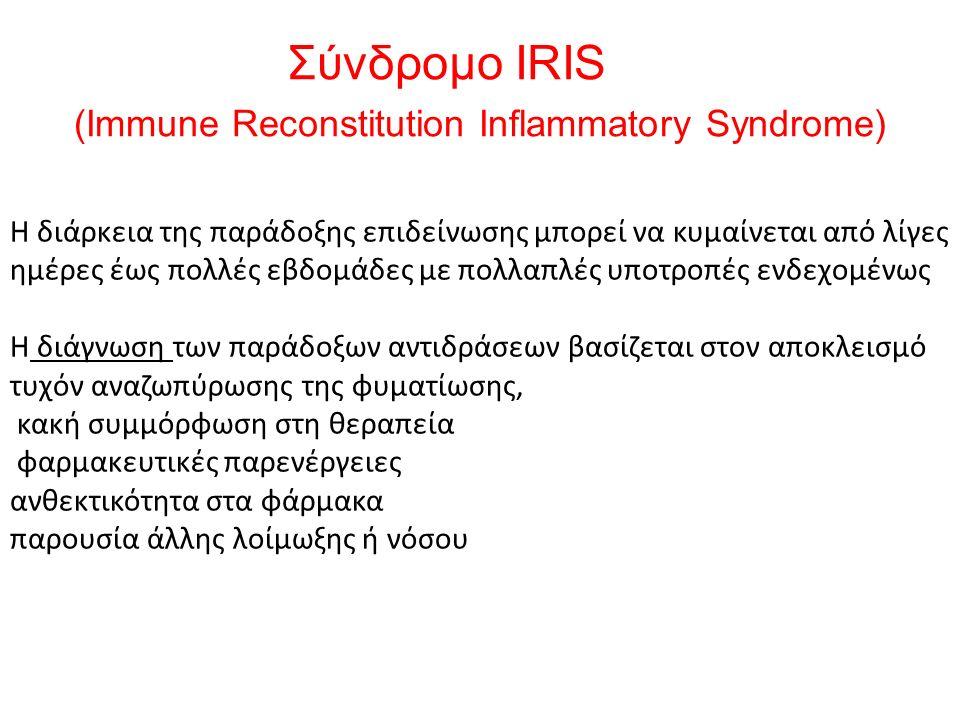 Σύνδρομο IRIS (Immune Reconstitution Inflammatory Syndrome) Η διάρκεια της παράδοξης επιδείνωσης μπορεί να κυμαίνεται από λίγες ημέρες έως πολλές εβδομάδες με πολλαπλές υποτροπές ενδεχομένως Η διάγνωση των παράδοξων αντιδράσεων βασίζεται στον αποκλεισμό τυχόν αναζωπύρωσης της φυματίωσης, κακή συμμόρφωση στη θεραπεία φαρμακευτικές παρενέργειες ανθεκτικότητα στα φάρμακα παρουσία άλλης λοίμωξης ή νόσου