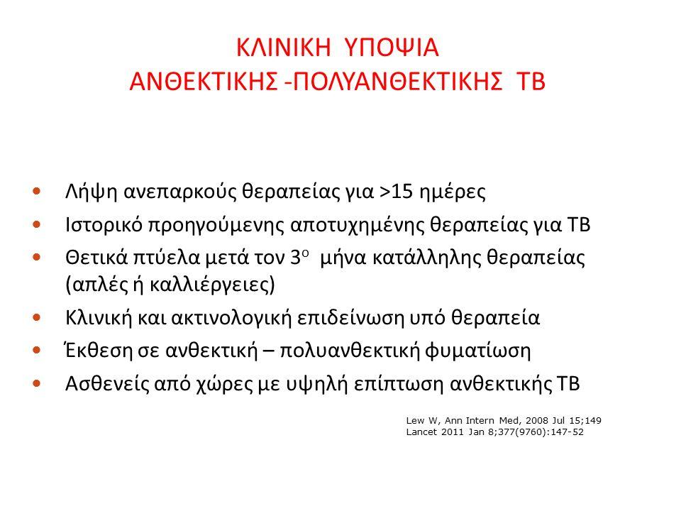 ΚΛΙΝΙΚΗ ΥΠΟΨΙΑ ΑΝΘΕΚΤΙΚΗΣ -ΠΟΛΥΑΝΘΕΚΤΙΚΗΣ ΤΒ Λήψη ανεπαρκούς θεραπείας για >15 ημέρες Ιστορικό προηγούμενης αποτυχημένης θεραπείας για ΤΒ Θετικά πτύελα μετά τον 3 ο μήνα κατάλληλης θεραπείας (απλές ή καλλιέργειες) Κλινική και ακτινολογική επιδείνωση υπό θεραπεία Έκθεση σε ανθεκτική – πολυανθεκτική φυματίωση Ασθενείς από χώρες με υψηλή επίπτωση ανθεκτικής ΤΒ Lew W, Ann Intern Med, 2008 Jul 15;149 Lancet 2011 Jan 8;377(9760):147-52
