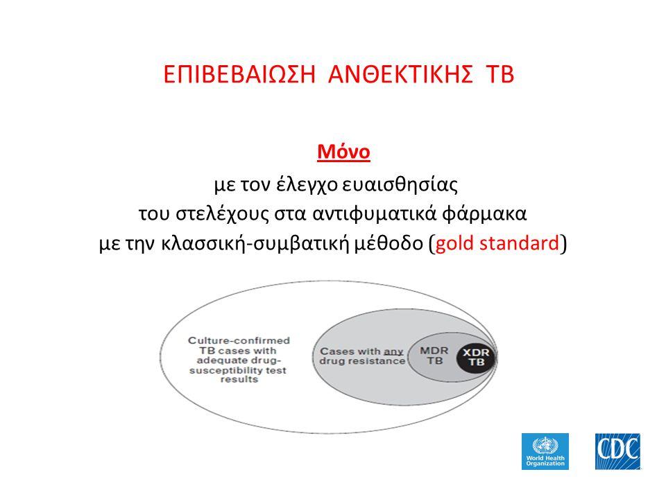 ΕΠΙΒΕΒΑΙΩΣΗ ΑΝΘΕΚΤΙΚΗΣ ΤΒ Μόνο με τον έλεγχο ευαισθησίας του στελέχους στα αντιφυματικά φάρμακα με την κλασσική-συμβατική μέθοδο ( gold standard )
