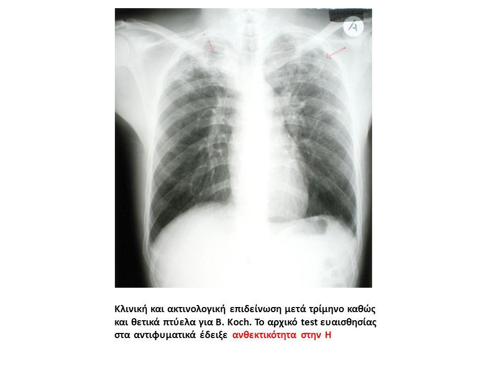 Κλινική και ακτινολογική επιδείνωση μετά τρίμηνο καθώς και θετικά πτύελα για B.
