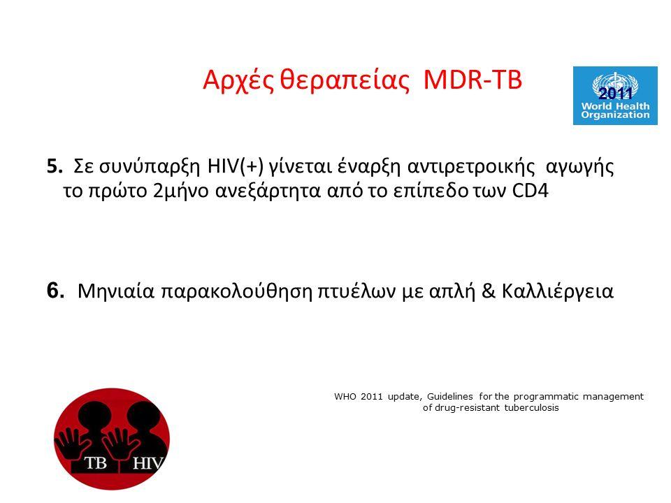 5. Σε συνύπαρξη HIV(+) γίνεται έναρξη αντιρετροικής αγωγής το πρώτο 2μήνο ανεξάρτητα από το επίπεδο των CD4 6. Μηνιαία παρακολούθηση πτυέλων με απλή &