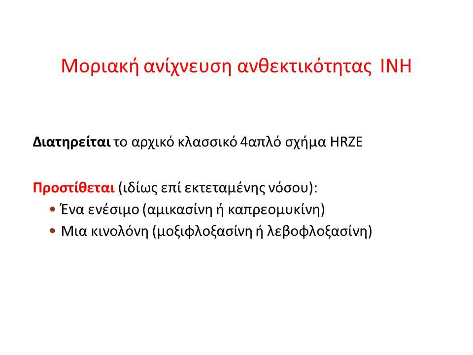 Μοριακή ανίχνευση ανθεκτικότητας INH Διατηρείται το αρχικό κλασσικό 4απλό σχήμα HRZE Προστίθεται (ιδίως επί εκτεταμένης νόσου): Ένα ενέσιμο (αμικασίνη ή καπρεομυκίνη) Μια κινολόνη (μοξιφλοξασίνη ή λεβοφλοξασίνη)