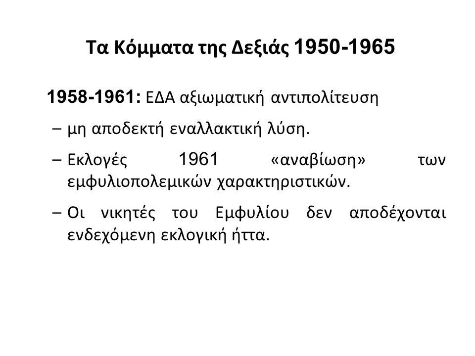 Τα Κόμματα της Δεξιάς 1950-1965 1958-1961: ΕΔΑ αξιωματική αντιπολίτευση –μη αποδεκτή εναλλακτική λύση. –Εκλογές 1961 «αναβίωση» των εμφυλιοπολεμικών χ